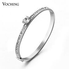 Stainless Steel Bangle with Crystal Women Bracelet VG-073