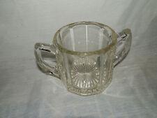 Vintage,Depression Glass,Vertical Ribbed,10 Panel,Starburst Bottom,Sugar Bowl
