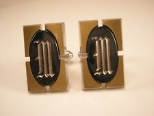 M Initial Monogram Letter Font Name Vintage Cuff links gift Hickok