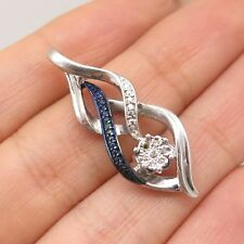 Signed 925 Sterling Silver Real 2 Tone Diamond Modernist Infinity Slide Pendant