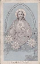 IMAGE PIEUSE HOLY CARD SANTINI Gauffrée(relief)- COEUR DE JESUS-Fleurs - CHRIST