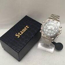 New Stauer Hybrid Digital Analog Stainless Steel Men's Watch