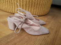MODERN RARITY CARENZA SANDALS Nude Beige Pink Suede Leather UK 4 / 37 - NEW