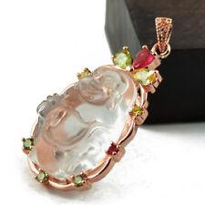 Magnifique Pendentif Bouddha Rieur en Cristal Transparent rehaussé sur Or Rose