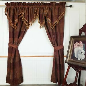 Croscill Cassidy West Panels Opulence Gold Umber Red Chenille (2) Drapery 82X87