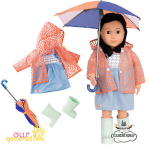OUR GENERATION DOLL Brighten Up A Rainy Day Deluxe Umbrella Set - American Girl
