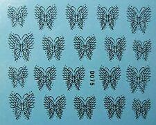 Accessoire ongles : nail art - Stickers décalcomanie - papillons dentelle noire
