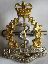 ROYAL CANADIAN ARMY MEDICAL CORPS LARGE SILVER & GOLD CAP  BADGE