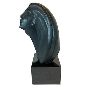 Vintage Star Gazer Bust Austin Prod 1980 Art Deco Modern Sculpture Black