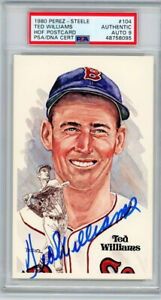 TED WILLIAMS SIGNED PEREZ STEELE POSTCARD #104 PSA/DNA PSA MINT 9 Boston Red Sox