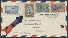 1939 #246-248 Royal Visit FDC, Set + #C6 On Airmail Cover, Royal Train Orbs