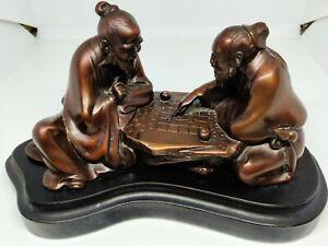 Antique Japanese Bronze Sculpture of Meiji Gomoku Players