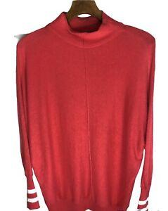 Mint Velvet Pink Cashmere Blend Jumper Soft Knit Oversized High Neck Sz M VGC