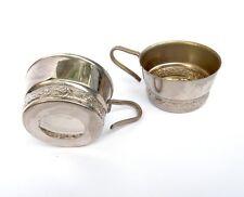 Soviet Vintage Silver Plated Cup glass Holders Set of 2 Podstakannik Russian tea