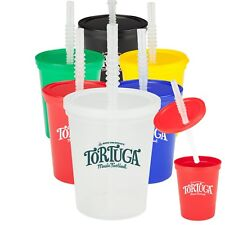 50 Custom BPA Free 16 oz. Stadium Cups with Lid and Straw Printed With Your Logo
