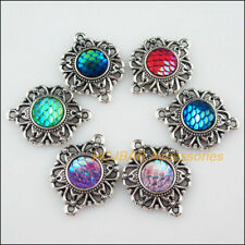 6 New Scale Resin Connectors Flower Mixed Charm Tibetan Silver Pendant 21.5x28mm