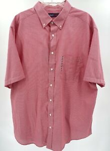 Travel Smart Men's Shirt Size 2XT Tall Red White Houndstooth Roundtree & Yorke