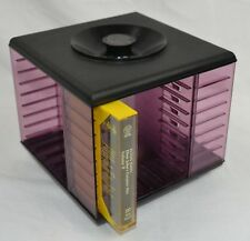 Vintage Retro Smoked Plastic 20 Cassette Tape Swivel Base Storage Stand Rack