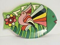 Vintage Clay Mexican FISH Folk Art Talavera Pottery Hand Painted Artist Signed