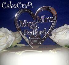 Mirrored  Acrylic Personalised Wedding cake topper decorations SWAROVSKI CRYSTAL