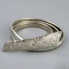 Vintage 70s Silver Metal Skinny Snake Belt Large Etched Buckle Stretch 73-88cm