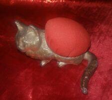 "Metal Sitting Cat, Kitten Red Pin Cushion Figurine 3"" x 2.5"""