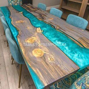 Acacia Sky Blue Resin River Epoxy Dining Corridor Table Top Outdoor Décor Gifts