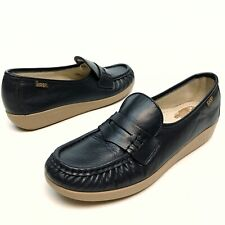 SAS Navy Blue Leather Penny Loafer Shoes Women's Size 8N Moc Toe Wedge NWOB