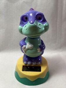 New Solar Powered Dancing Toy Bobble Head Dinosaur - Purple/Green