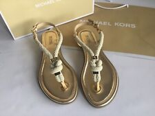 BNWB MICHAEL KORS WOMENS HOLLY ROPE GOLD THONG SANDAL SIZE UK 5 US 7