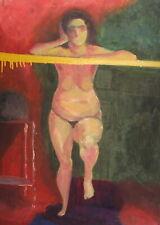 Vintage expressionist oil painting nude woman portrait