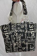 CHANEL Cambon 31 Rue Beach Black White Canvas Tote Shoulder Bag Shopper