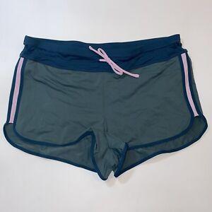 ATHLETA Kata Surge Swim Shorts Medium Amazon Green Colorblock Lined Drawstring