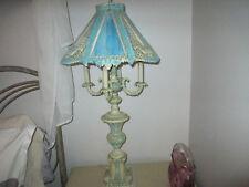 """ANTIQUE SLAG 4 PANELS VICTORIAN LAMP CAST METAL CANDELLABRA AQUA BLUE 41"""""""