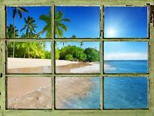 Window View Wall Mural - Tropical Beach with Palm Trees - 24x32 inches