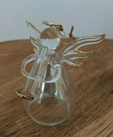 Carlton Cards Clear Blown Glass & Gold Angel Playing Horn figurine / Ornament