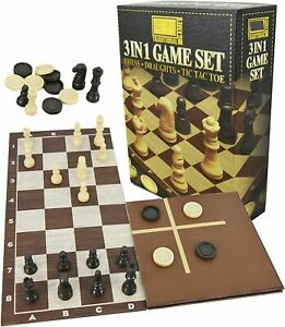 Chess, Checkers & Tic Tac Toe 3 Games in 1 Set Great Value