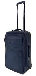 """Kirkland 22"""" Upright Expandable Wheeled Carry On Suitcase Black Ballistic Nylon"""