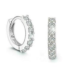 1/4 Ct Round Cut Fashion Diamond Single Row Platinum Hoop Huggie Earrings F9T9