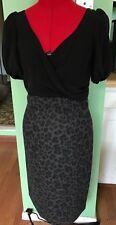 REBECCA TAYLOR DRESS WOOL SILK FAUX WRAP SHEATH LEOPARD CHEETAH ANIMAL SIZE 8