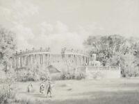 Kolonnaden im Schlosspark Sanssouci in Potsdam, 1851, Bleistiftzeichnung
