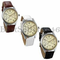 Men's Dress Wrist Watch Classic 40mm Dial Business Analog Leather Band Watches