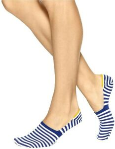 HUE Womens Resort COTTON LINER SOCKS Blue Shock Striped - NWT