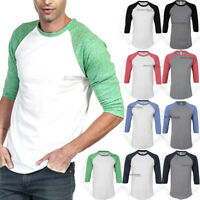 Mens 3/4 Sleeve Raglan T Shirt Baseball Plain Casual Slim Fit Tri Blend Crew Tee