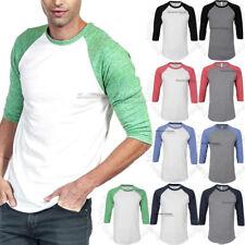 Men 3/4 Sleeve Raglan T Shirt Baseball Plain Casual Slim Fit Tri Blend Crew Tee