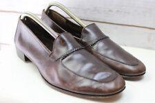 Ferragamo 10 D Brown Leather Vintage Loafers Men's Shoes