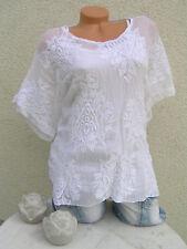Tunika Italy Bluse Twinset Stickerei Baumwolle zwei Teile 38 40 42 44 weiß  2018
