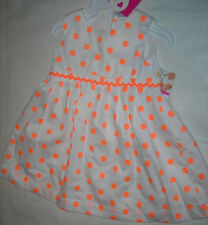 Carter's 2 PC Girls White Neon Dot Summer Dress 6 mos