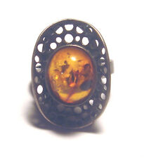 MID CENTURY Modernist HAND WROUGHT Sterling 925 Genuine STUDIO AMBER RING 6.5