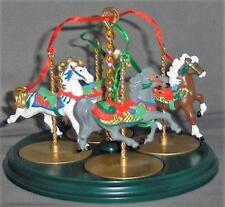 Hallmark 4 Carousel Horses Display Stand 1989 Christmas Snow Holly Star Ginger